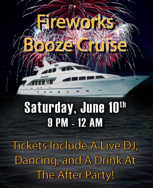 Fireworks Booze Cruise On June 10th